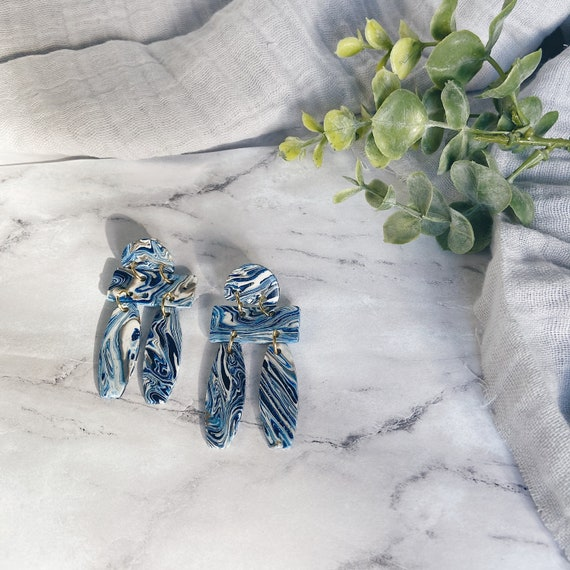 Blue and White Marbled Polymer Clay Earrings