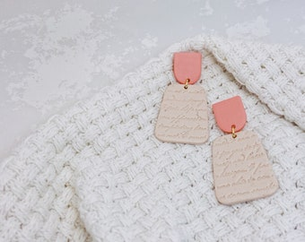 Peach and Beige Love Letter   Polymer Clay Earrings
