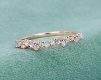 Natural Opal Ring, Vintage Opal Band, Opal Wedding Band, Rose Gold Opal Ring, Dainty Opal Ring, October Birthstone Ring, Matching Band Ring