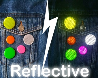 Reflective Button Badge - High Visibility Pin Badges - Hi Vis Pin - Reflective Safety Badges - Bike Reflector - Neon Badges -  3 Pack (25mm)