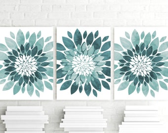Watercolor Teal Aqua Flower Wall Art, Flower Art Prints or Canvas Set of 3, Teal Blue Flower Prints, Bedroom Flower Decor, Bathroom Wall Art