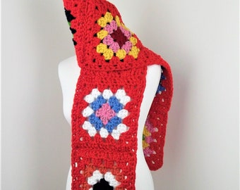 Granny Squares Scarf / Crochet Scarf / Afghan Scarf