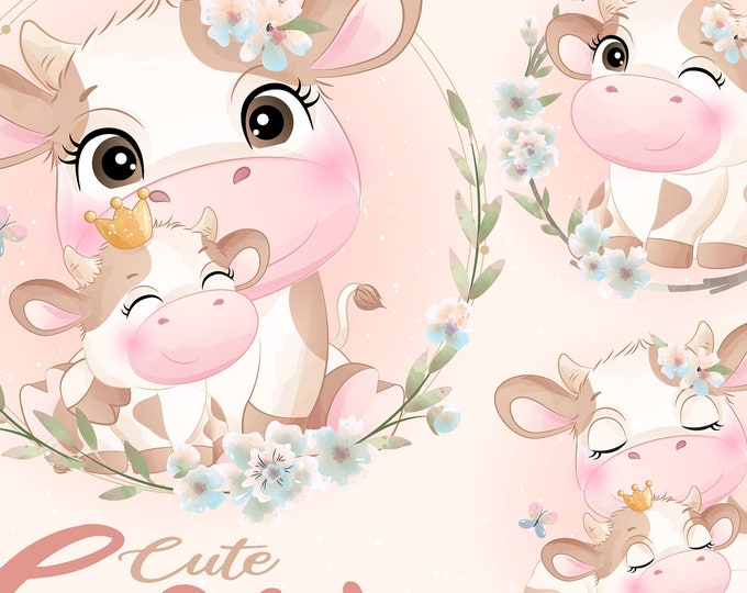 Featured listing image: Cute doodle cow clipart set with watercolor illustration