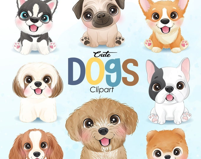 Featured listing image: Cute dogs clipart with watercolor illustration
