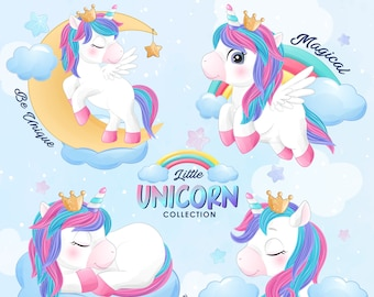 Cute unicorn poses clipart with watercolor illustration