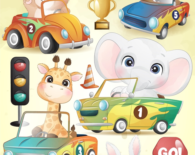 Featured listing image: Cute animals with racing car digital clipart set