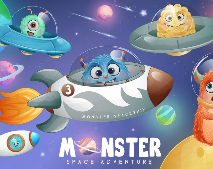 Featured listing image: Cute monster outer space adventure digital clipart.