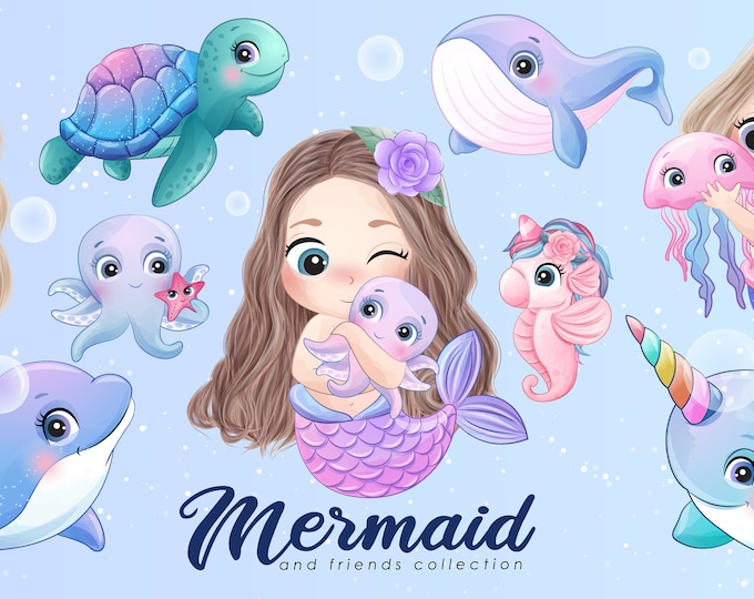 Featured listing image: Cute mermaid and friends clipart with watercolor illustration