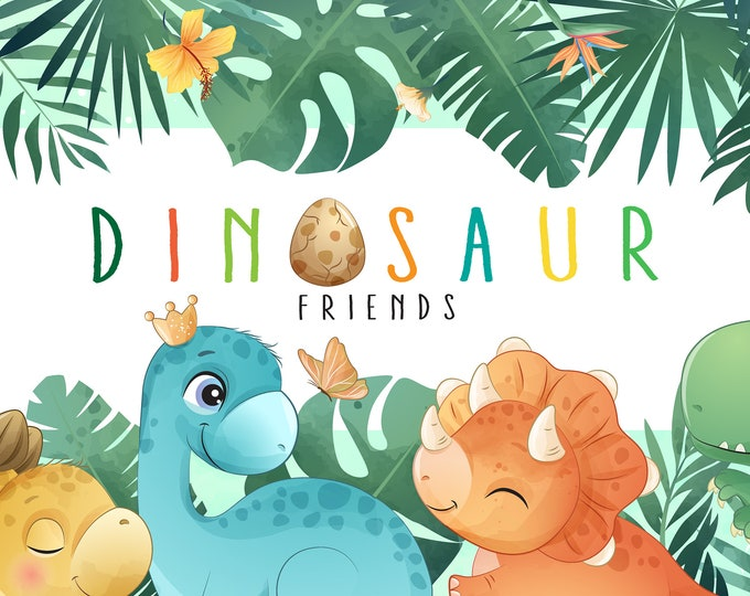 Featured listing image: Cute dinosaur clipart set with watercolor illustration