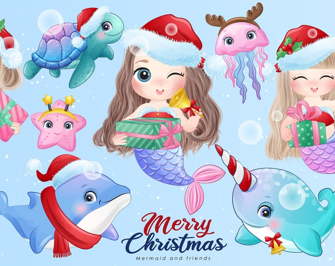 Featured listing image: Cute mermaid and friends for merry christmas digital clipart collection