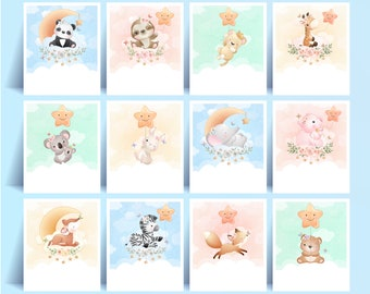 Cute animals clipart set with watercolor illustration