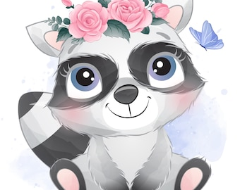 Cute raccoon clipart with watercolor illustration