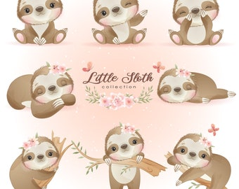 Cute Little sloth poses clipart with watercolor illustration
