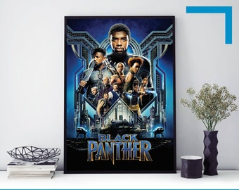 """Black Panther movie poster 2018 13x20/""""//24x36/""""Text Less Marvel comic."""