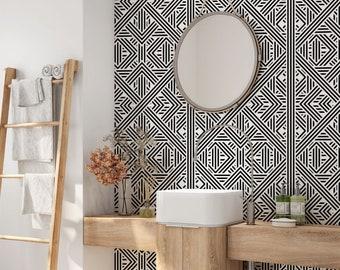Removable Wallpaper Geometric Etsy