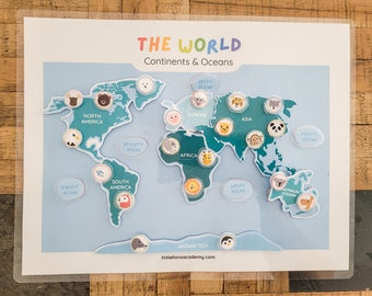 World Map Printable Puzzle, Continents of the World, Preschool Printable, Geography Printable, Continents & Oceans, Homeschool Learning