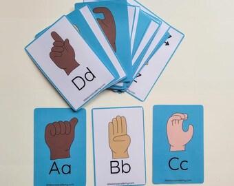 Alphabet ASL Flashcards, ASL, Sign Language, Homeschool, Deaf Education, Signing, Flashcards, Alphabet