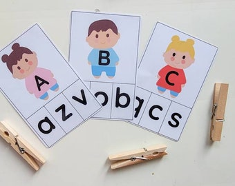 Alphabet Clip Cards, Printable, Letters Recognition, Literacy, Learning, Preschool and Kindergarten Activity, Upper And Lower Case