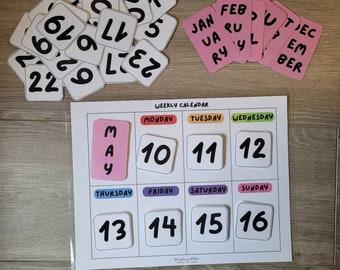 Kids Weekly Calendar, Preschool Calendar, Classroom Calendar, Kids Calendar