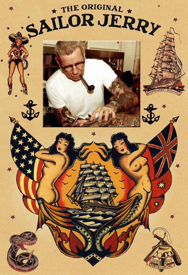 Sailor Jerry Tattoo Art Flash 13x19 Photo Print Etsy