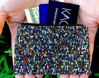 Beaded Coin Purse, Rainbow Zipper Pouch, Beaded Change Purse, Small Wallet, Money Holder, Gift Card Holder, Gift for her