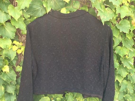 40s Vintage Black Tailored Crop Bolero Jacket - image 3