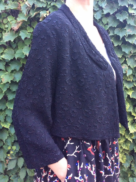 40s Vintage Black Tailored Crop Bolero Jacket