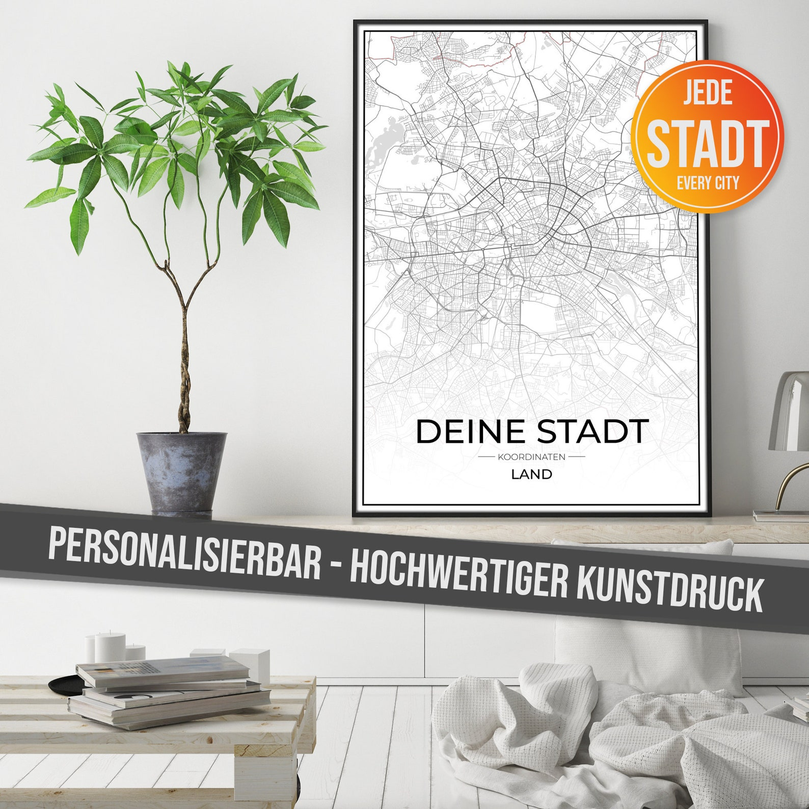 City Map Personalizable - Poster with High Resolution Print - Art Print