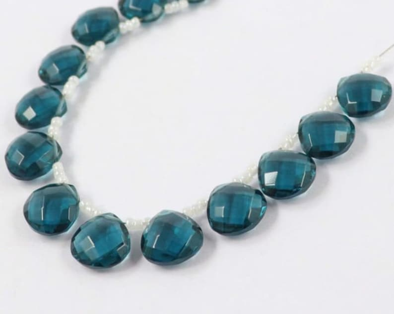 10 Pcs of london Blue Quartz Faceted side to side drilled Heart ShapeBeads