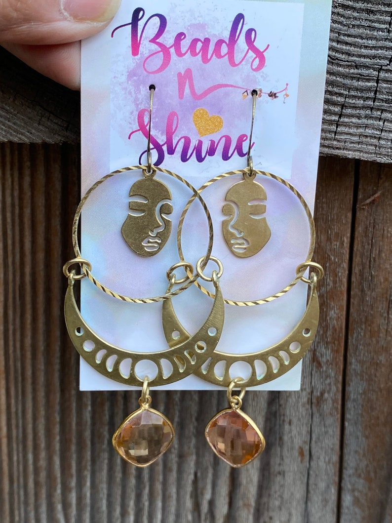 brass geometric dangles face earrings,fringe earrings Statement earrings Modern brass earrings morganite earrings