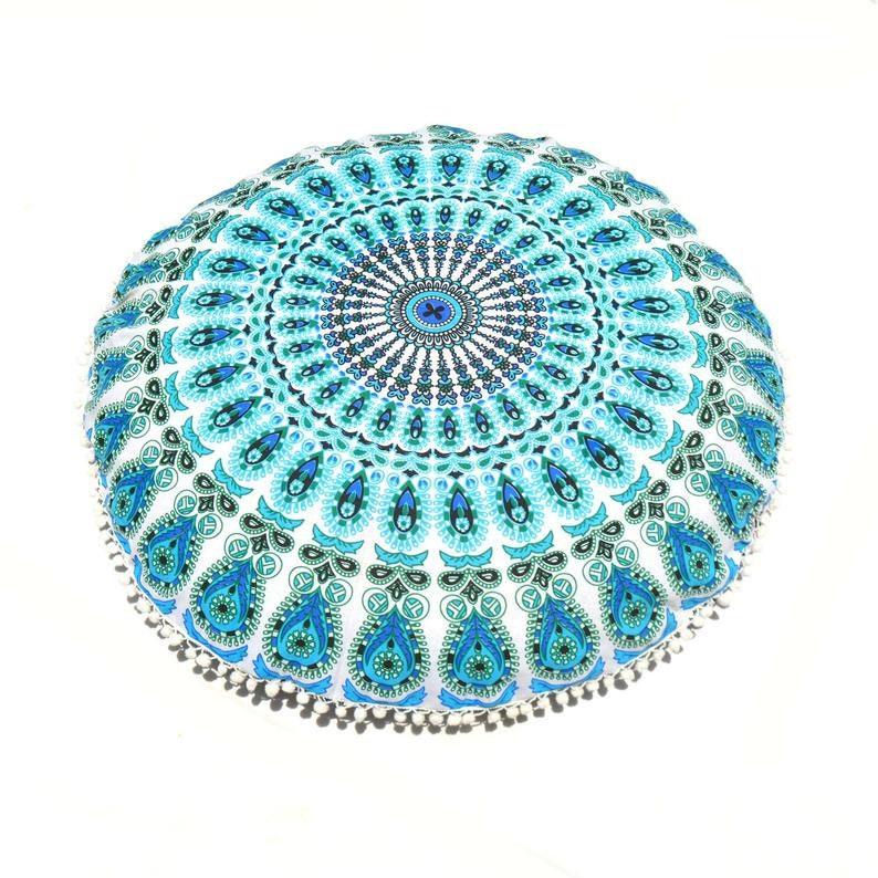 Large Floor Cushion Mandala Indian Round Pillow Case Bohemian Cotton Ottoman Pouf Cover Indian Handmade Mandala Floor Cushion Pillow Cover