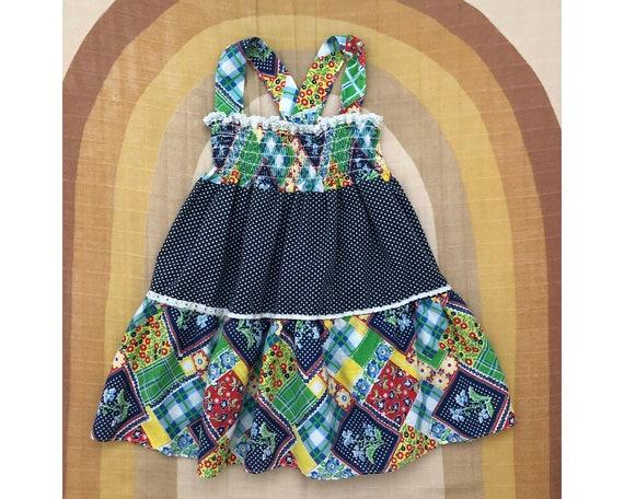 Vintage Handmade Polka Dot Patchwork Sundress with