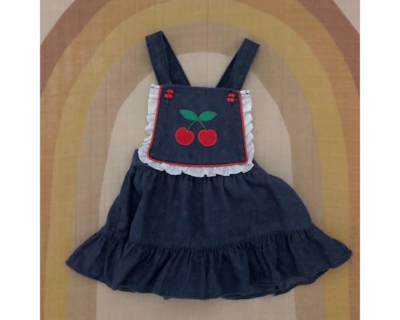 Vintage HealthTex Denim Pinafore Apron Dress with… - image 1