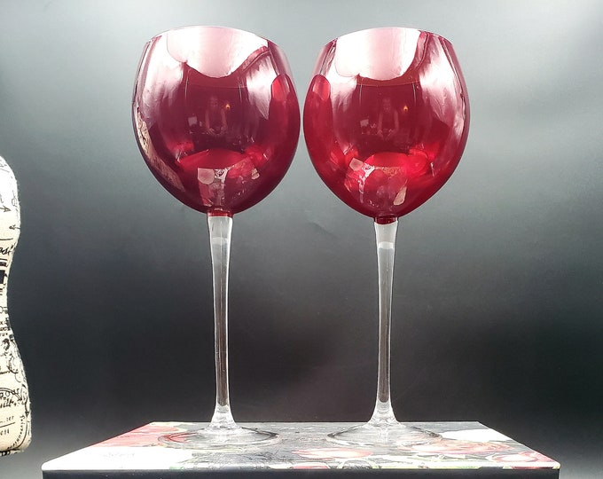 Featured listing image: Set of 2 vintage ruby red crystal balloon wine glasses