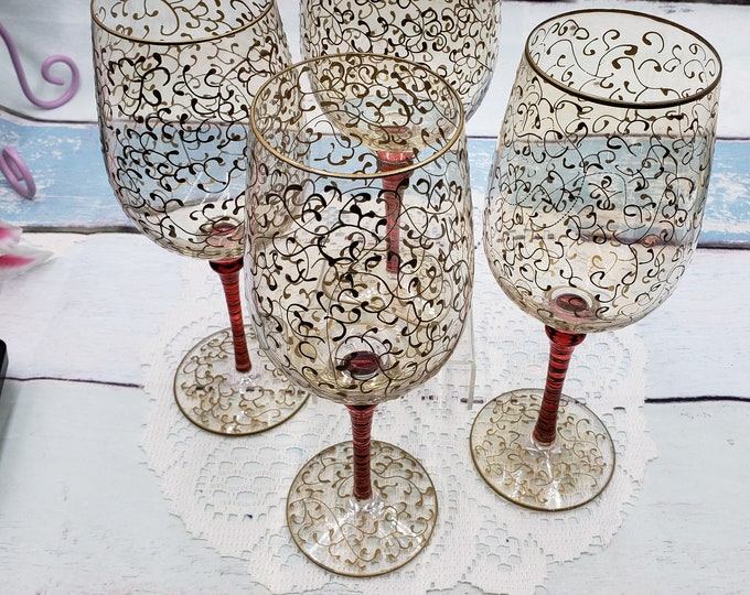 Featured listing image: Set of 2 vintage crystal Pier 1 water/wine glasses Rioja Gold blown glass hand decorated