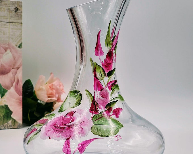 Featured listing image: Beautifully hand painted wine decanter adorn with intricate pink roses