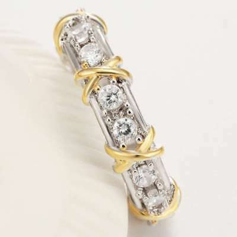 4.00 Ct Round Diamond 14K White /& Gold plated Eternity Band Ring for Women/'s and Girl/'s