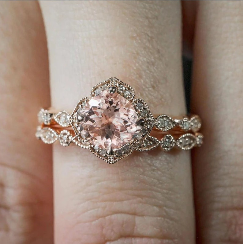 Cushion Cut Morganite Diamond Engagement Ring With Wedding Band in 14k Rose Gold Plated Bridal Set for Women/'s and Girl/'s