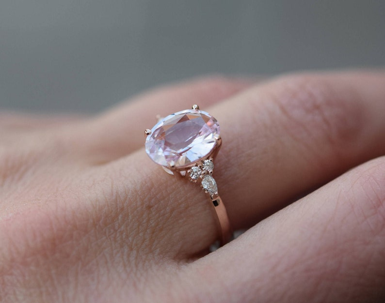 Beautiful 2.50 Ct Oval Pink Cut Diamond Solitaire Engagement Ring in 14K Rose Gold Finish for Women/'s and Girl/'s
