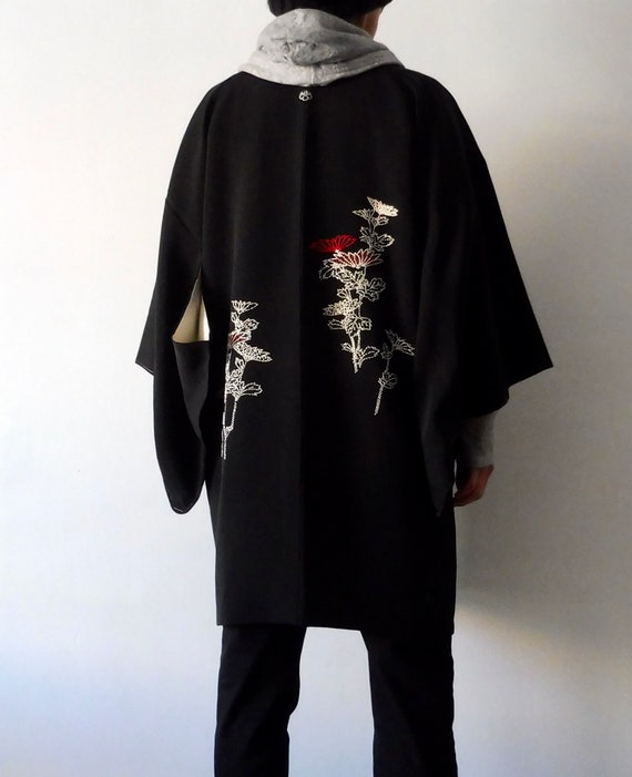 Black long Haori, Black haori embroidery, Haori wi