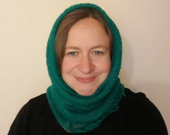 Beautiful Mohair Snood hand crafted in the UK on a Victorian hand operated knitting machine, scarf, cowl or hood, warm and light, ideal gift