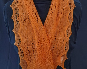 """Soft Acrylic 46"""" long framework knitted lacy scarf, hand crafted in the UK,warm and light, evening and daytime use"""