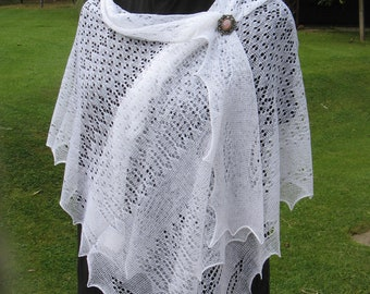 """Traditional 72"""" long framework knitted lacy stole/wrap for daytime and evening use, delicate,stylish and warm,hand crafted in the UK"""