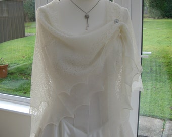 """Delicate 54"""" square lacy baby/wedding/evening/christening shawl, framework knitted, hand crafted in the UK, superfine merino wool, heirloom"""