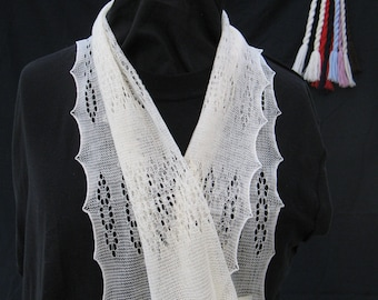 """Beautiful 46"""" long framework knitted lacy scarf in superfine merino pure wool,hand crafted in the UK,warm and light, evening and daytime use"""