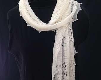 """Beautiful 66"""" long framework knitted lacy scarf in superfine merino pure wool, hand crafted in the UK, warm and light, ideal gift"""