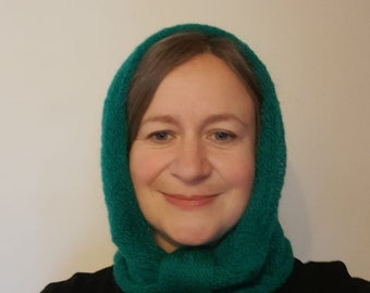 Beautiful Mohair Mini Snood hand crafted in the UK on a Victorian hand operated knitting machine, cowl or hood, ideal gift.