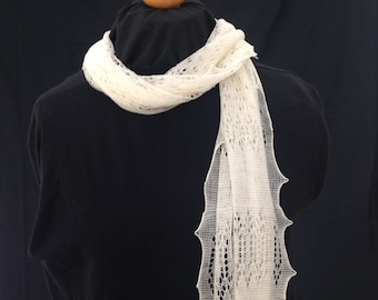 """Beautiful 56"""" long framework knitted lacy scarf in superfine merino pure wool, hand crafted in the UK, warm and light, ideal gift"""