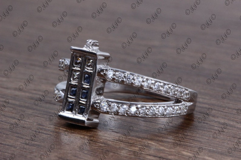 BlueWhite Princess Cut Fancy Ring,925 Sterling Silver Ring,Cubic Zirconia Studded Rectangular Shape Ring,CZ Studded Shank Ring,Women/'s Ring