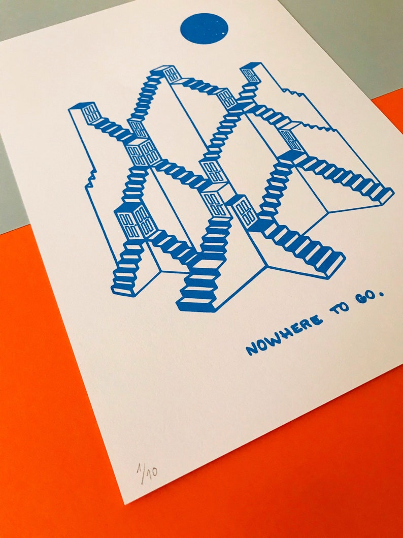 Screen print Gift Art Print Original Artwork Wall Art Limited edition Nowhere to Go Abstract A4 Poster Design Graphic